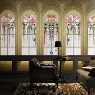 欧式宫廷窗外电视背景墙壁纸客餐厅3d立体无缝布大型