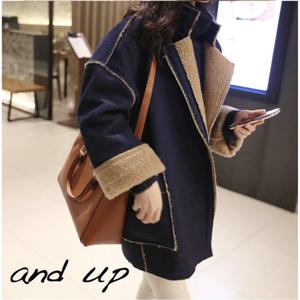 2015秋冬新款韩版大码加厚鹿皮绒羊羔毛大衣中长款棉衣牛仔外套女