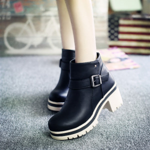 韩版拼色扣带淑女加绒小短靴短筒高跟甜美马丁靴冬季新款女鞋靴子
