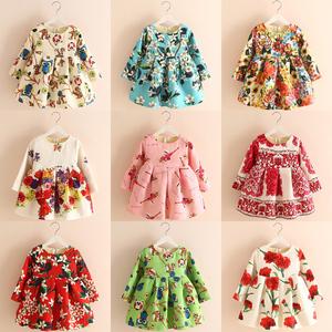 2015冬季装新款童装女童儿童宝宝花朵碎花青花瓷加厚加绒连衣裙子