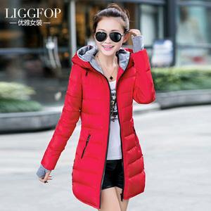 气质淑女装棉衣女中长款韩版冬装轻羽薄绒棉服女加厚修身显瘦