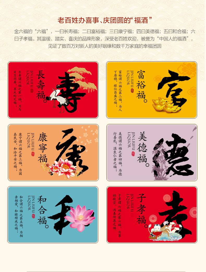 金六福 经典15 纯粮浓香型白酒 50度 475ml*6瓶 图2